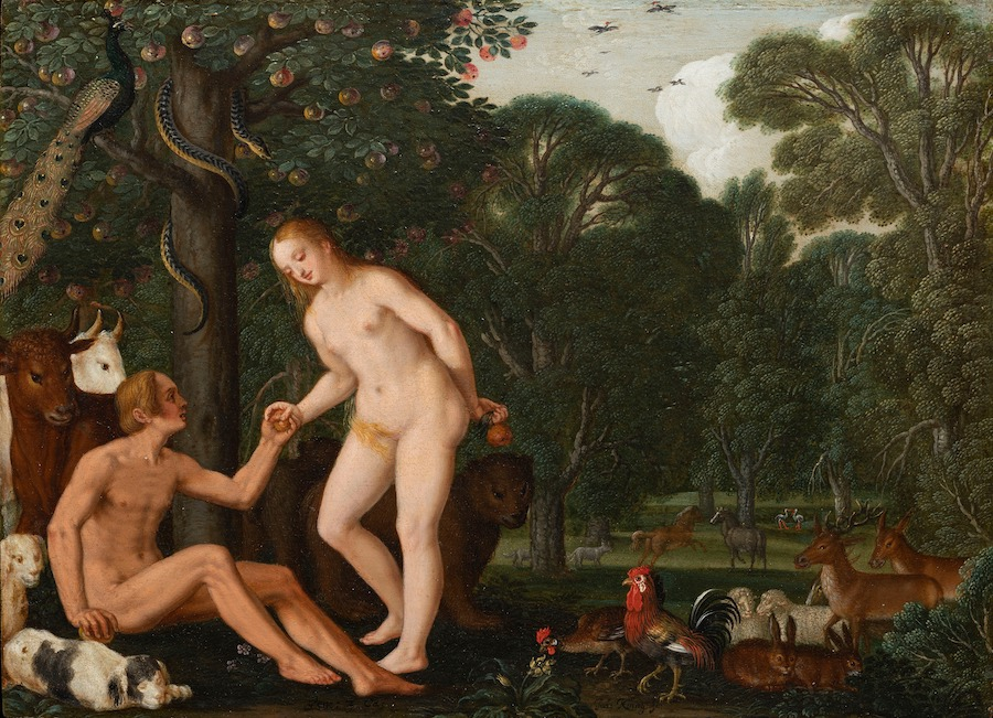 Adam and Eve in Paradise by Johann König, Nuremberg 1629