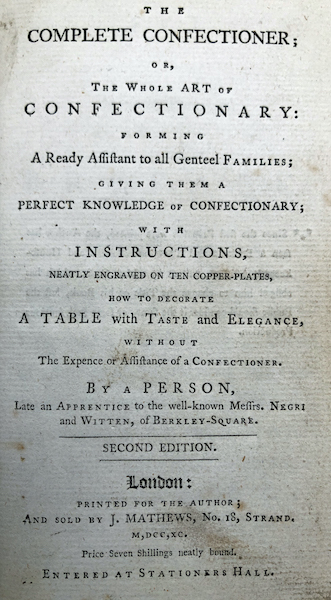 Title page of The Complete Confectioner (London, 1789)