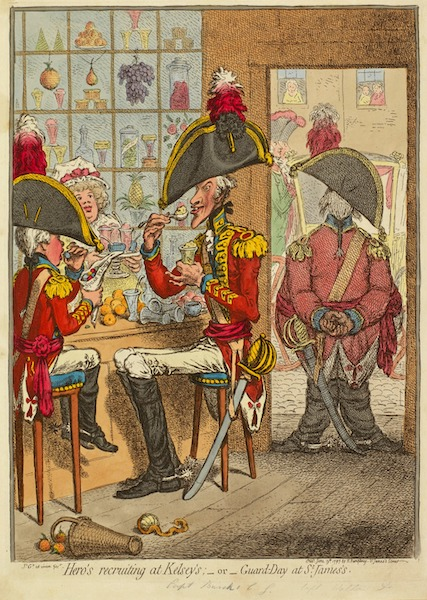 Gillray's cartoon of June 1797 showing soldiers eating sweet treats inside a London confectioner's