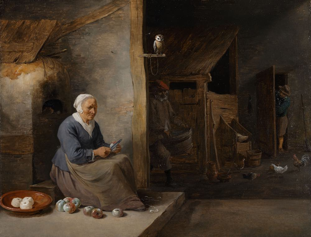 Interior, with an old woman peeling apples