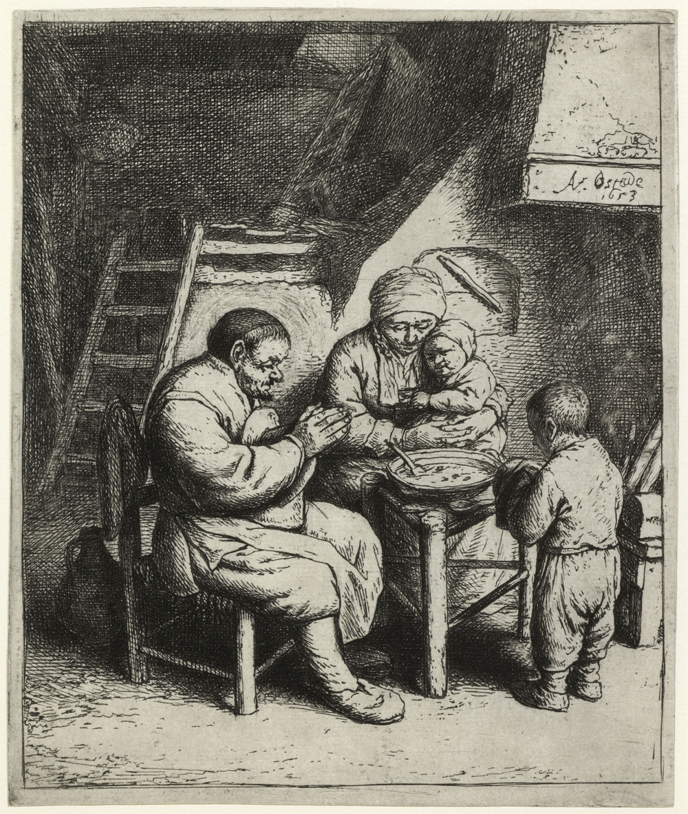 Peasant family at prayer before eating