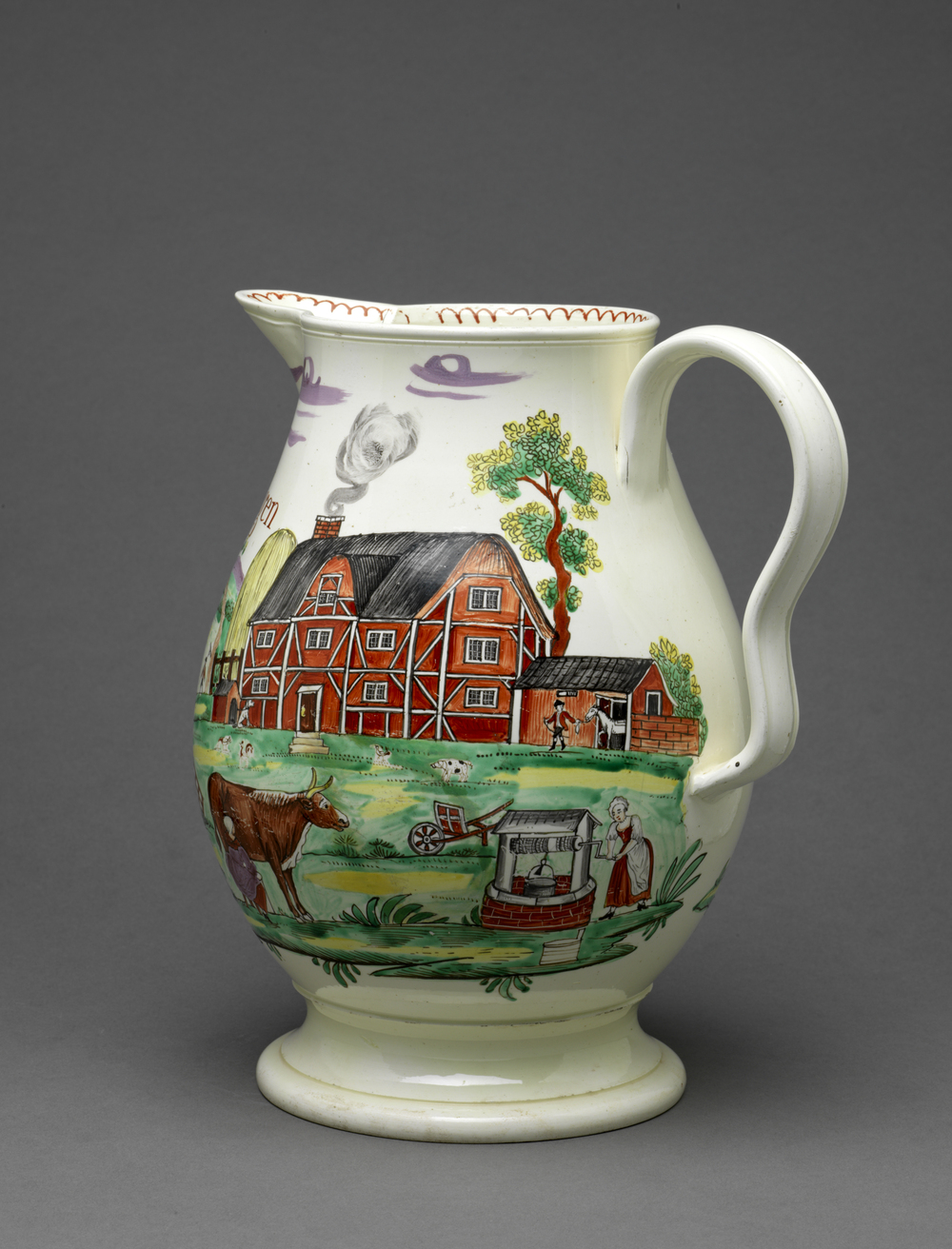 John Bridgen's jug with a farmyard scene