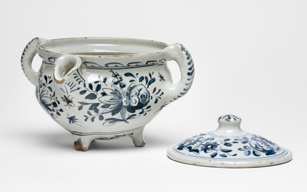 Two-handled spouted porringer and cover