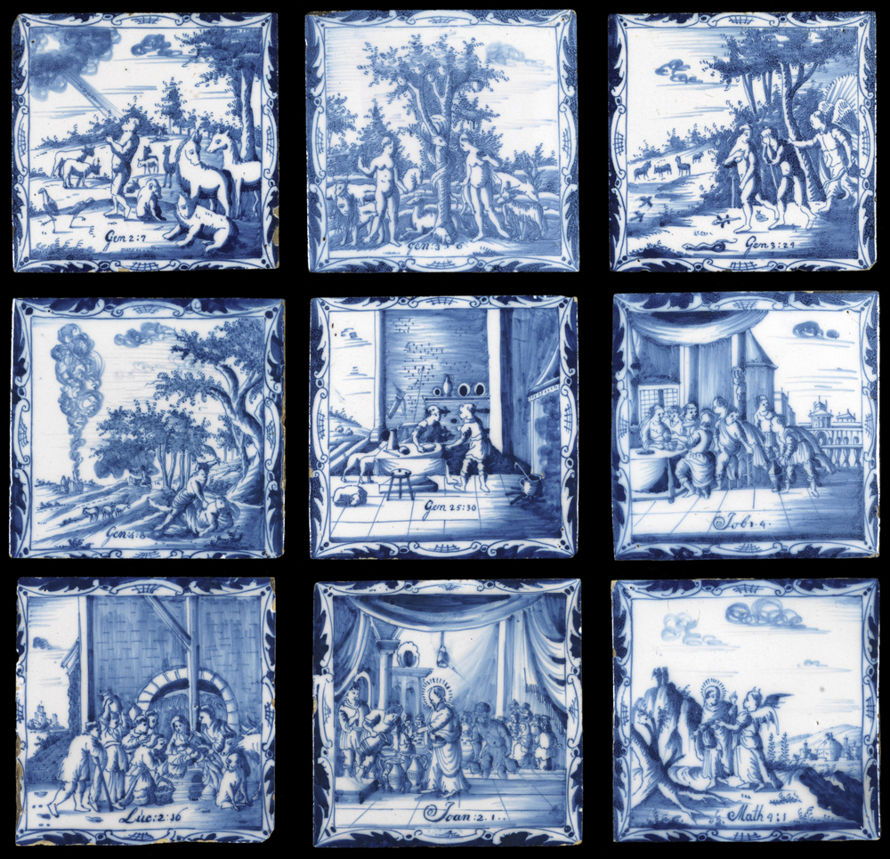 Nine tiles, each depicting a Biblical scene connected to food