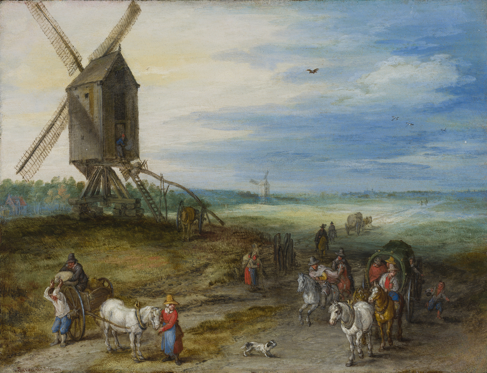 Landscape with windmill and carts